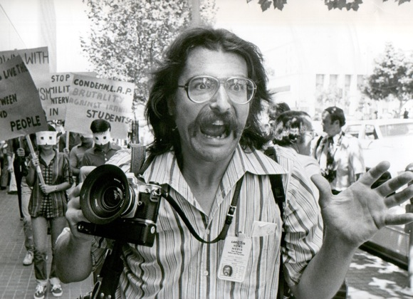 Chris Gulker at demonstration late 70s/early 80s