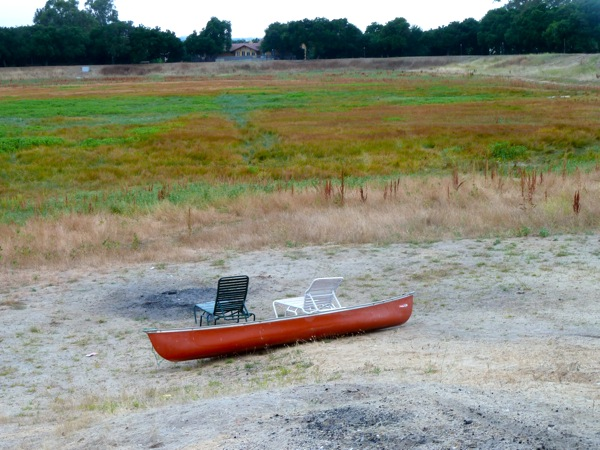 red canoe at Lake Lagunita
