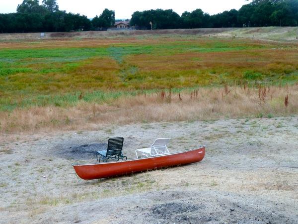 red canoe at Lake Lagunita