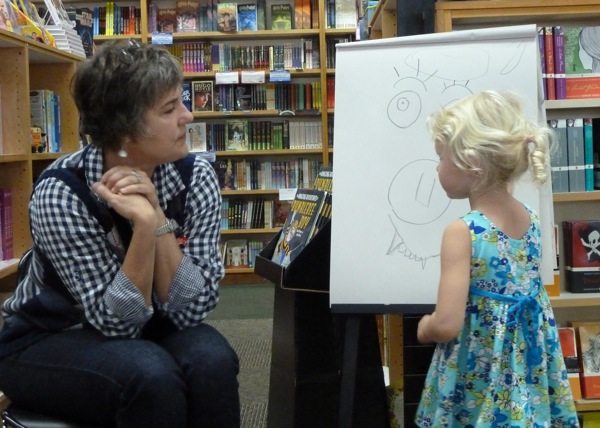 author Susan Gal helps a young illustrator