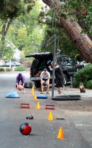 fitness training in a Menlo Park neighborhood